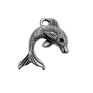 Textured Dolphin – Pewter Charm